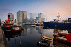 South dock and Canary Wharf, London. Royalty Free Stock Image