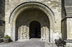 South door, Malmesbury Abbey. Medieval carved archway around the south door, Malmesbury Abbey Stock Photo