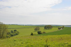 The South Downs countryside near Worthing, England. Fields and countryside on The South Downs above Steyning near Worthing in West Sussex, England Royalty Free Stock Image