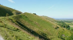South Downs path and a blue sky royalty free stock photography