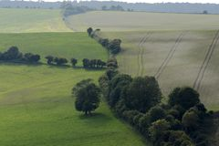 South Downs in Sussex. England. Countryside on The South Downs above Worthing in West Sussex. England stock photography