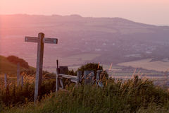 South Downs Way Sunset Royalty Free Stock Photography