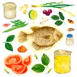 South East Asia Delicious Fish Recipe Watercolor Illustration. For any purpose such as food book cover book, food book illustration, restaurant menu Royalty Free Stock Images