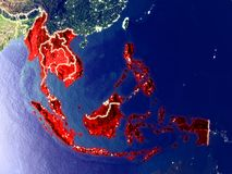 South East Asia on Earth at night royalty free stock photo