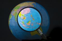 South east Asia in focus. Magnifying glass focusing on South east Asia Stock Photo