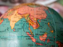 South East Asia Globe Close Up. Close up of South East Asia on a globe royalty free stock photo