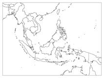 South East Asia political map. Black outline on white background. Simple flat vector illustration.  vector illustration
