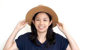 South East Asian girl wearing casual hat, smile and happy on whi Royalty Free Stock Photos