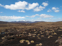 South east Cairngorms, Scotland in may. View of the snow covered Lochnagar from the peat covered round hill of Mark Royalty Free Stock Photos