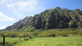South-east cliffs of Kualoa Ranch. Film location Jurassic Park - Oahu, Hawaii stock footage
