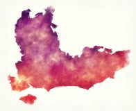 South East England UK watercolor map in front of a white background. Illustration stock images