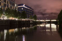 South East Night View over Temple Quay (A) Blue building and Mea Royalty Free Stock Photo