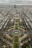 South East View Eiffel Tower. A Look To the south east from the Top of The Eiffel Tower stock images