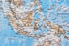 South-Eastern Asia Region on the Map. Indonesia, Malaysia and islands stock images