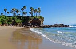 South end of Crescent Bay, Laguna Beach, California. Image shows the south end of Crescent Bay Beach, in North Laguna Beach, California royalty free stock photo
