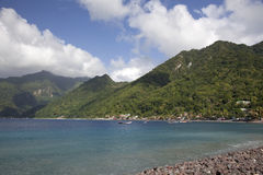 South End, Dominica. Caribbean side of the south end of the island of Dominica, showing the sea as well as the inland mountains and rainforest Royalty Free Stock Images
