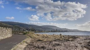 Largs South to Marina & Pencil. The south end of the holiday town of largs looking south towards the marina and the pencil. A good tourism image Royalty Free Stock Photo