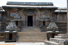South entrance, Chennakesava temple, Belur, Karnataka. The minature shrines are woth noticing. South entrance, Chennakesava temple, Belur, Karnataka, India. The royalty free stock photos