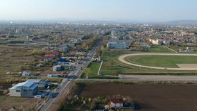 South entrance in Ploiesti City , Romania, aerial footage. Aerial footage from the drone  of the south side entrance in Ploiesti City, Romania with the city stock footage