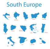 South europe - maps of territories - vector Stock Photos