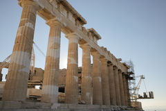 South facade of the Parthenon during reconstruction works. Temple on the Athenian Acropolis, Greece, dedicated to goddess Athena. Construction began in 447 BC royalty free stock photo