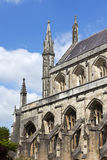 South facade and spires of Winchester Cathedral Stock Photos