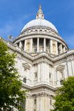 St Paul`s Cathedral London. South facade view of St Paul`s Cathedral among the trees Stock Images