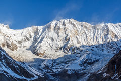 South face of Annapurna I. With an altitude of 8091m, Annapurna I is the 10th highest peak. It was the first 8000 - metre peak to be climbed, but it is also stock photos