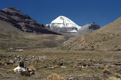 South Face of sacred Mount Kailash. View to the South Face of sacred Mount Kailash in Western Tibet Royalty Free Stock Image