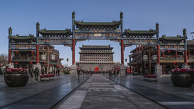 South Facing Gate   Memorial Gateway. China  Beijing  Commercial Street   an old and China  Beijing  Commercial Street  South Facing Gate   Memorial Gateway Stock Photography