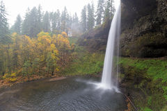 South Falls on a Foggy Morning. South Falls at Silver Falls State Park in Oregon during Autumn one foggy morning Royalty Free Stock Photos