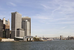 South Ferry and Brooklyn Bridge. Overlooking South Ferry and Brooklyn Bridge Stock Photo