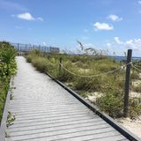 South Florida beach. Boardwalk access to Stock Image