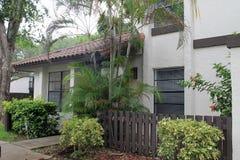 South florida home. Mediterranean style townhome, exterior facade. Miami, Florida Royalty Free Stock Photography