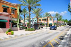 South Florida street with retail stores Stock Image