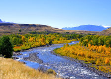 South fork horizontal. River winding through autumn foliage royalty free stock photography