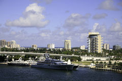 South Fort Lauderdale, Florida, USA. Southern Fort Lauderdale, Florida, USA showing towers and luxury cruisers along the water front. This is part of thr Inland Royalty Free Stock Image