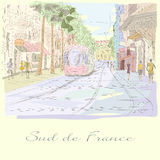 South of France street Hand drawn illustration. South of France street Hand drawn Vector illustration stock illustration