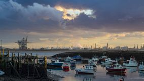South Gare dock at sunset royalty free stock photography