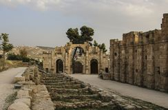 South gate of the Ancient Roman city of Gerasa, modern Jerash, J. Ordan Royalty Free Stock Photo