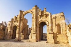 South gate of the Ancient Roman city of Gerasa, modern Jerash Stock Image