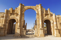 South gate of the Ancient Roman city of Gerasa, modern Jerash Royalty Free Stock Photos