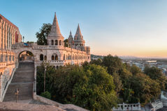 South Gate of Fisherman`s Bastion in Budapest. Hungary at Sunrise royalty free stock photography