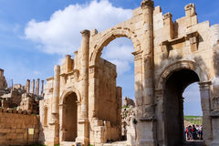South gate, Roman ruins in the city of Jerash Stock Photo