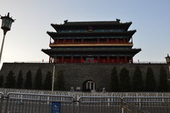 South Gate Tiananmen Square. The beautiful south gate of Tiananmen Square majestically stands over two guardian statues and fir trees in downtown Beijing China Stock Photos