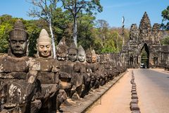 South gate to angkor thom in Cambodia, Asia stock photography