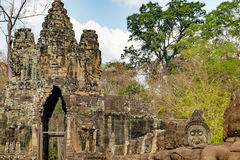 South gate to Angkor Thom in Cambodia Royalty Free Stock Photo