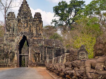 South gate to Angkor Thom in Cambodia Royalty Free Stock Image