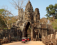 South gate to Angkor Thom near Siem Reap, Cambodia Stock Image