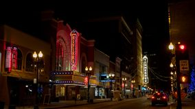 South Gay Street at night in Downtown Knoxville Tennessee USA royalty free stock photos